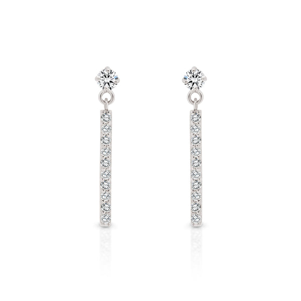 9Ct White Gold Cubic Zirconia Drop Stud Earrings