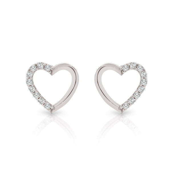 9Ct White Gold Cubic Zirconia Heart Stud Earrings