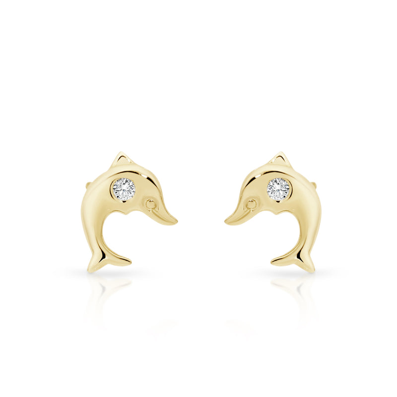 9Ct Yellow Gold Cubic Zirconia Dolphin Stud Earrings