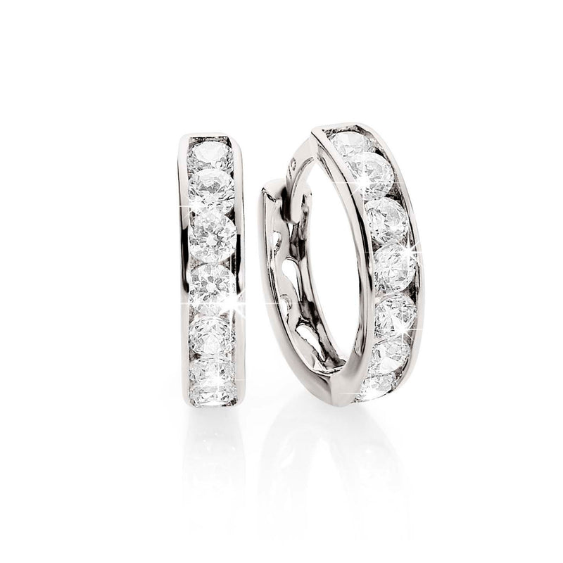 9Ct White Gold Cubic Zirconia Huggie Earrings
