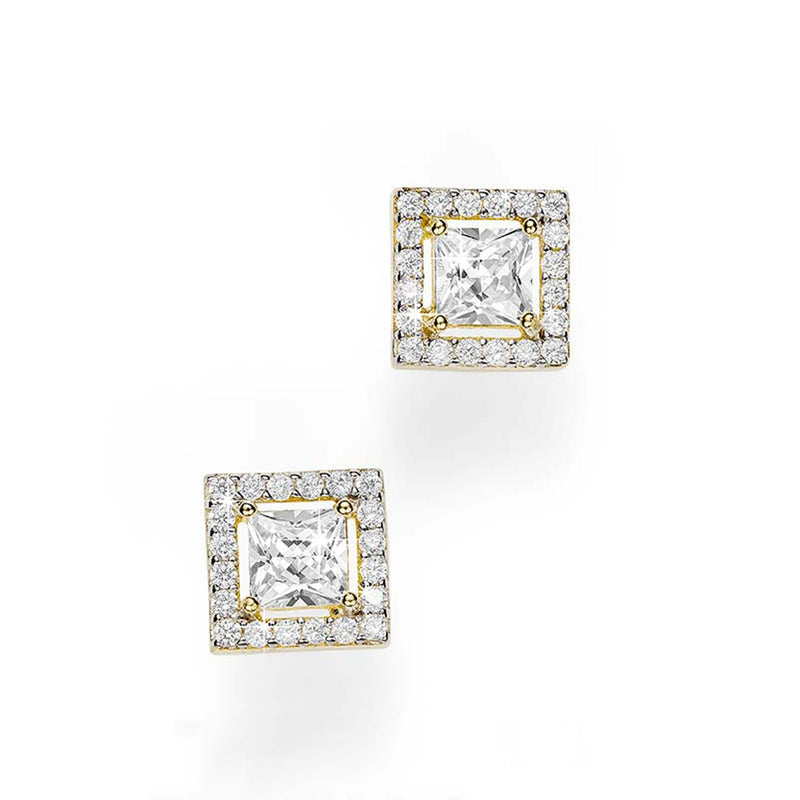 9Ct Yellow Gold Cubic Zirconia Square Halo Stud Earrings