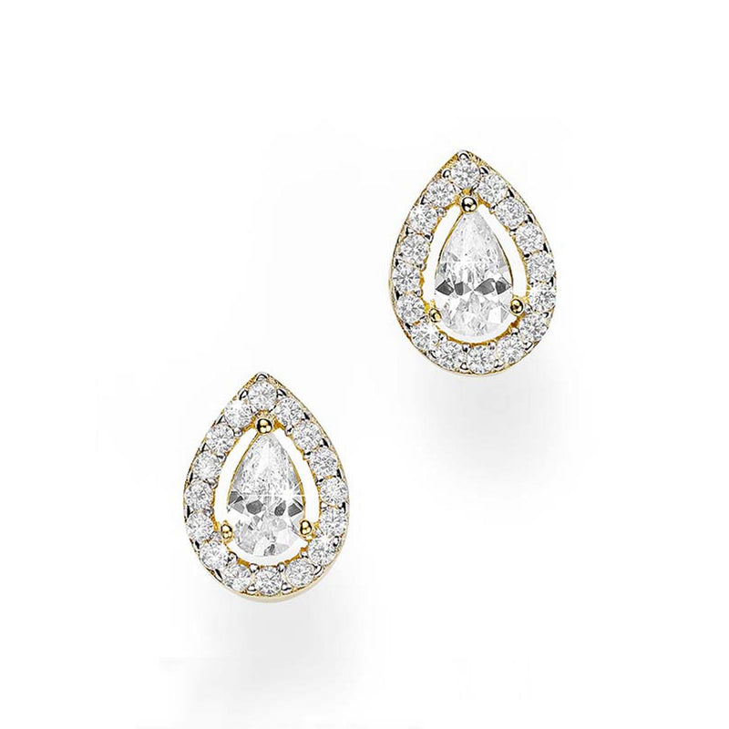 9Ct Yellow Gold Cubic Zirconia Pear Stud Earrings