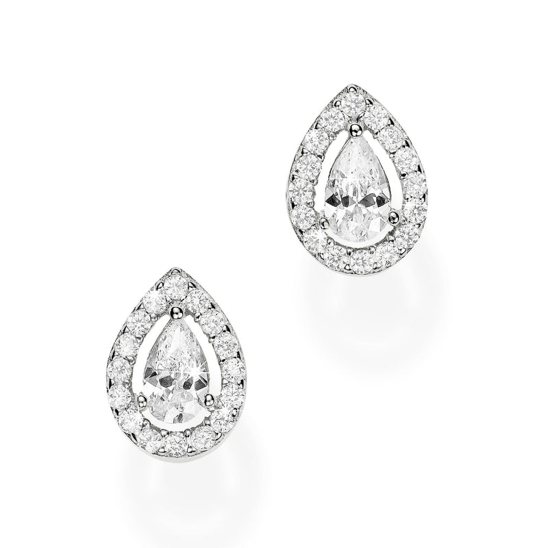 9Ct White Gold Cubic Zirconia Pear Stud Earrings