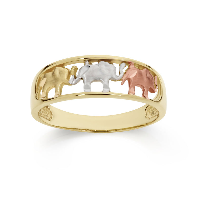 9Ct Yellow Gold Elephant Ring