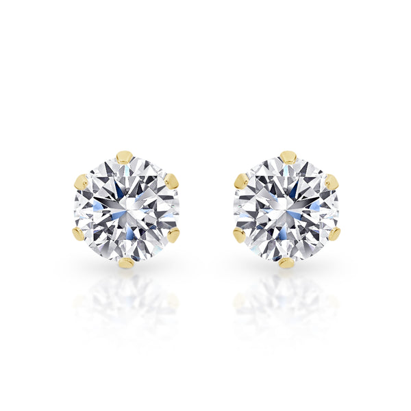 9Ct Yellow Gold 4mm Cubic Zirconia Stud Earrings
