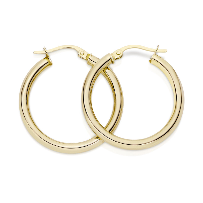9Ct Yellow Gold Polished 20Mm Hoop Earrings