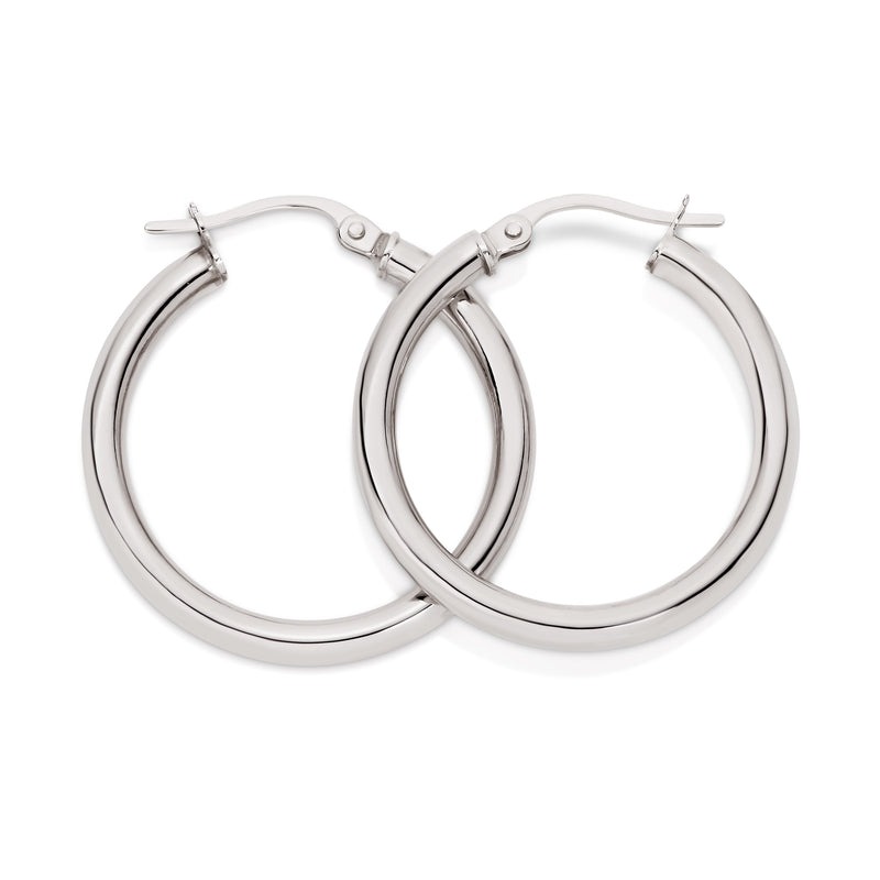 9Ct White Gold Polished 20Mm Hoop Earrings