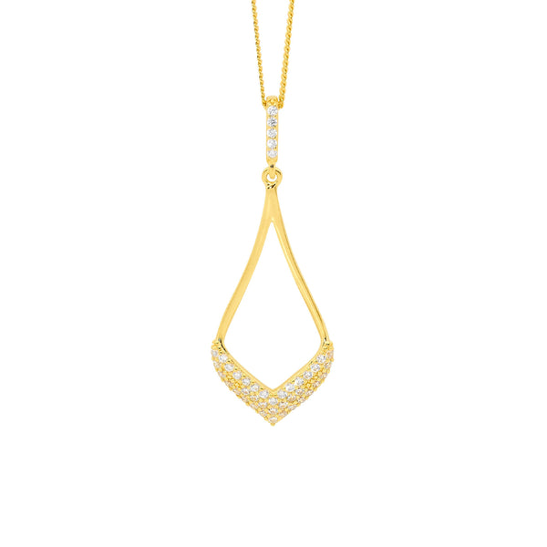 Sterling Silver cubic zirconia pendant with gold plating on chain