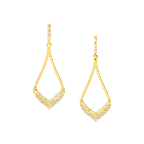 Sterling Silver & gold plated cubic zirconia drop earrings