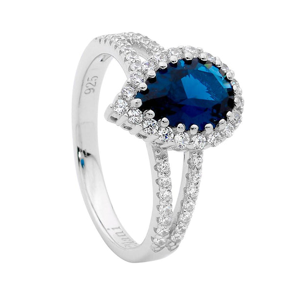 Sterling Silver london blue cubic zirconia ring