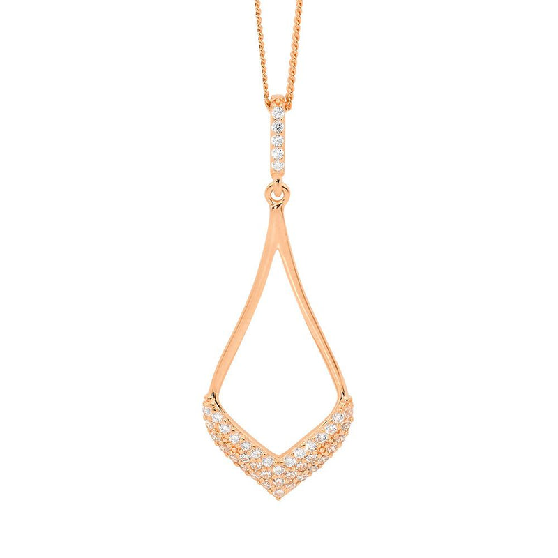 Sterling Silver cubic zirconia pendant with rose gold plating on chain
