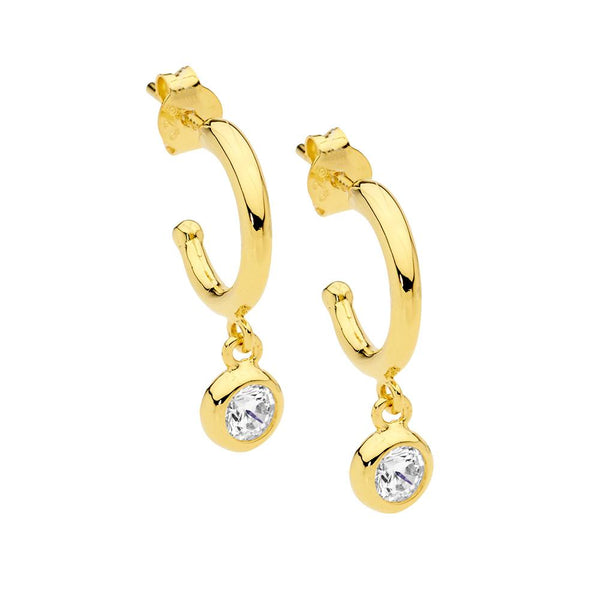 Sterling Silver & gold plated cubic zirconia hoop earrings