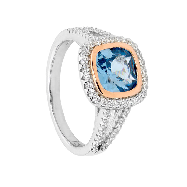 Sterling Silver blue spinel cubic zirconia ring with rose gold plating