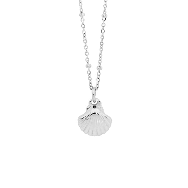 Stainless steel shell pendant on ball feature chain