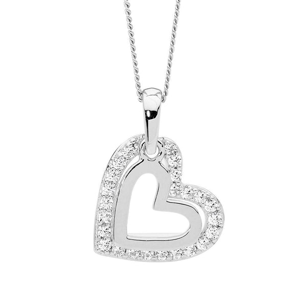 Sterling Silver cubic zirconia heart pendant on chain