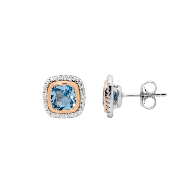 Sterling Silver blue spinel cubic zirconia halo stud earrings