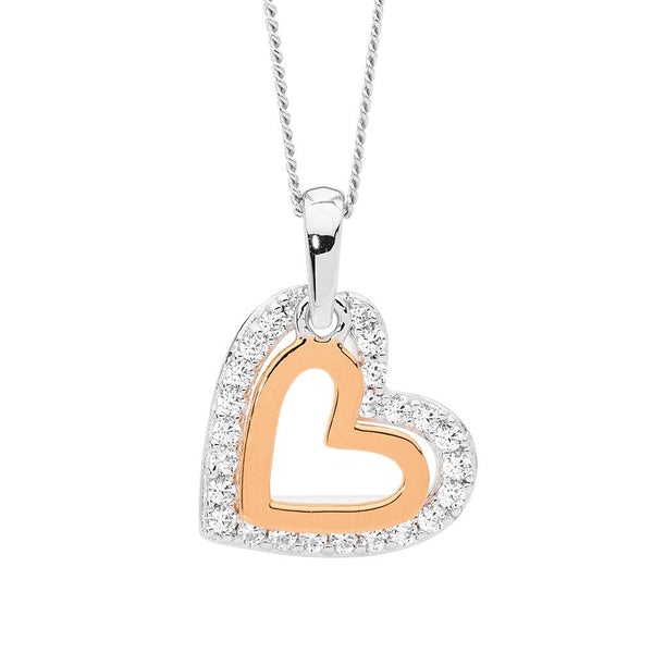 Sterling Silver cubic zirconia heart pendant with rose gold plating on chain