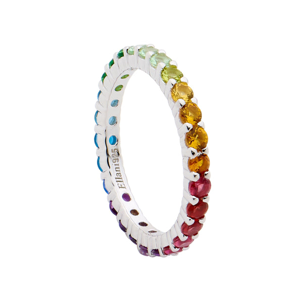 Sterling Silver multi colour cubic zirconia eternity ring