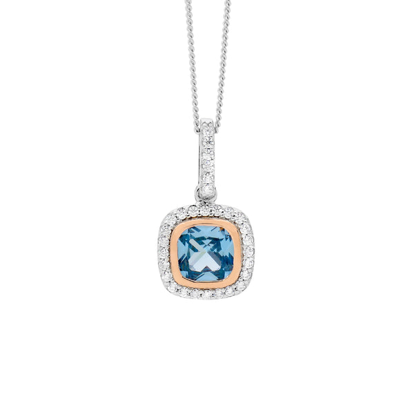 Sterling Silver blue spinel cubic zirconia pendant with rose gold plating on chain