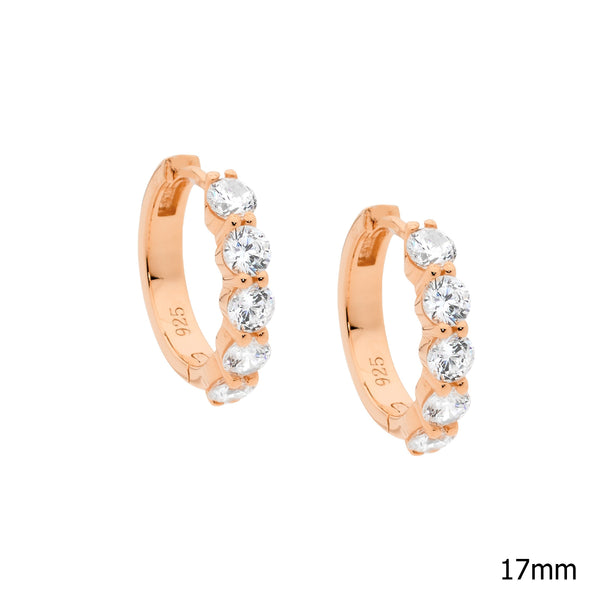 Sterling Silver cubic zirconia hoop earrings with rose gold plating