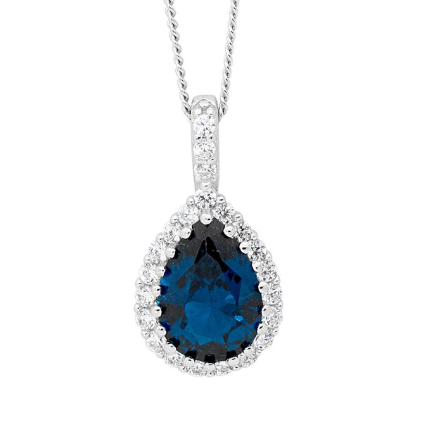 Sterling Silver london blue cubic zirconia drop pendant on chain