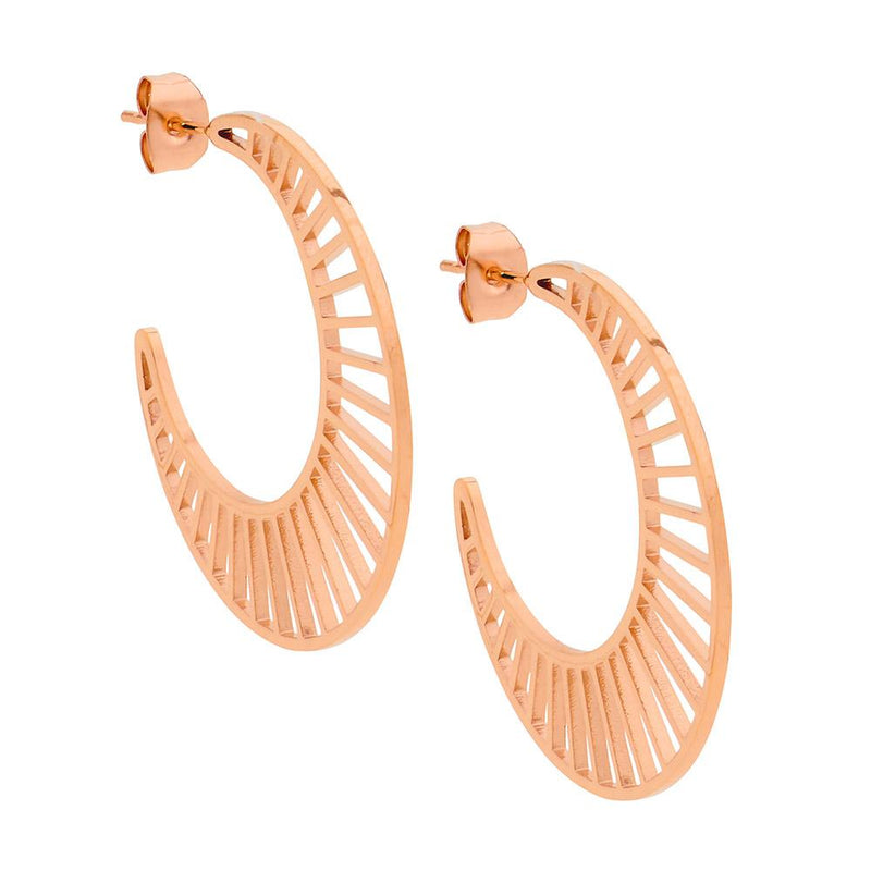 Stainless steel hoop earrings with rose gold plating