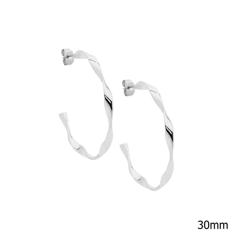 Stainless steel twist hoop earrings