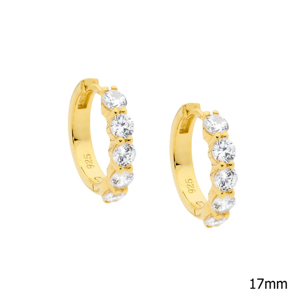 Sterling Silver cubic zirconia hoop earrings with gold plating