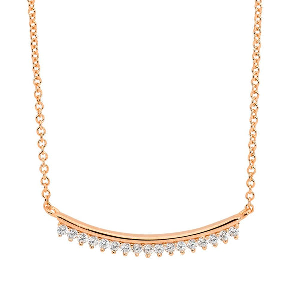 Sterling Silver curved bar cubic zirconia necklace with rose gold plating