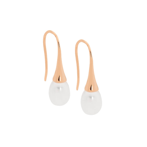 Sterling Silver freshwater pearl l on shepherds hook earrings with rose gold plating