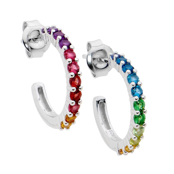 Sterling Silver multi colour cubic zirconia hoop earrings