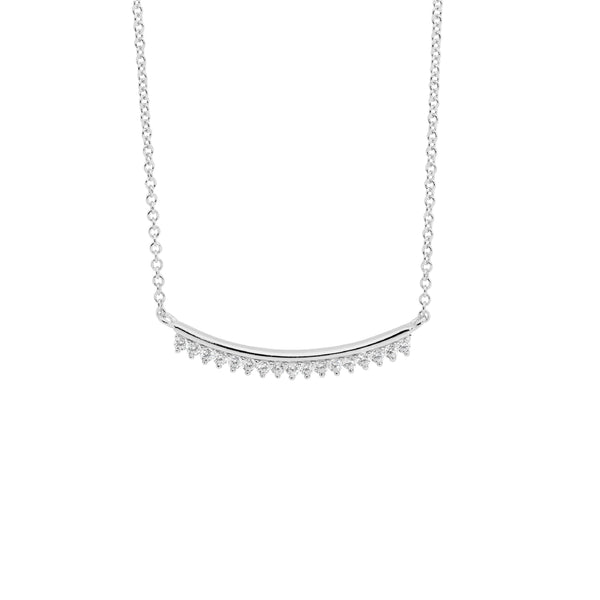 Sterling Silver curved bar cubic zirconia necklace