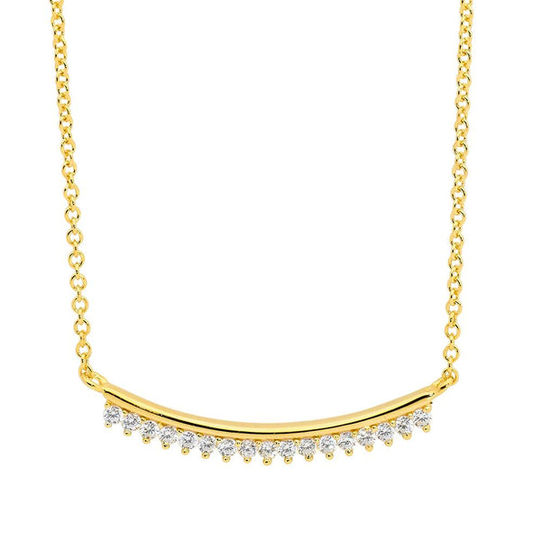 Sterling Silver curved bar cubic zirconia necklace with gold plating