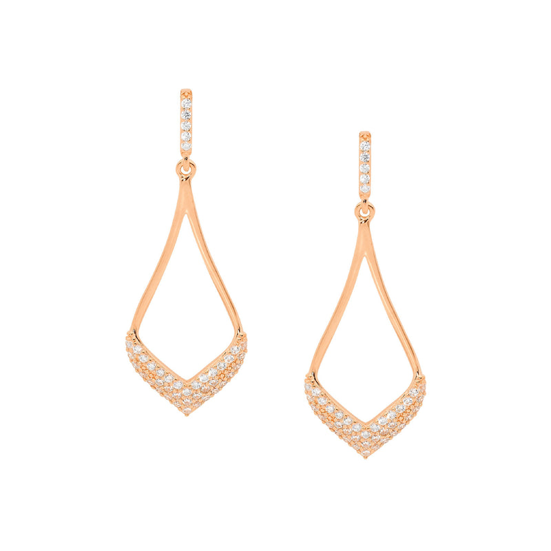Sterling Silver & rose gold plated cubic zirconia drop earrings