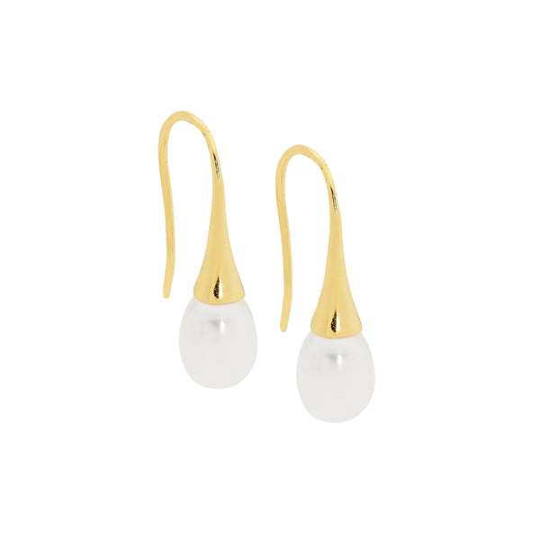 Sterling Silver freshwater pearl l on shepherds hook earrings with gold plating