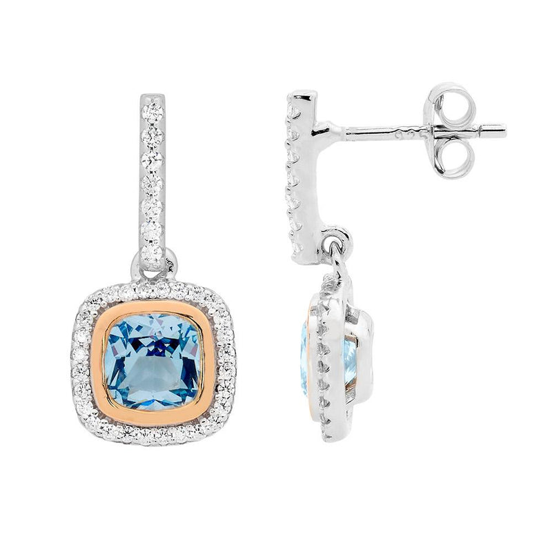 Sterling Silver blue spinel cubic zirconia halo drop earrings