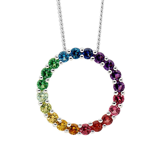 Sterling Silver multi colour cubic zirconia circle pendant on chain