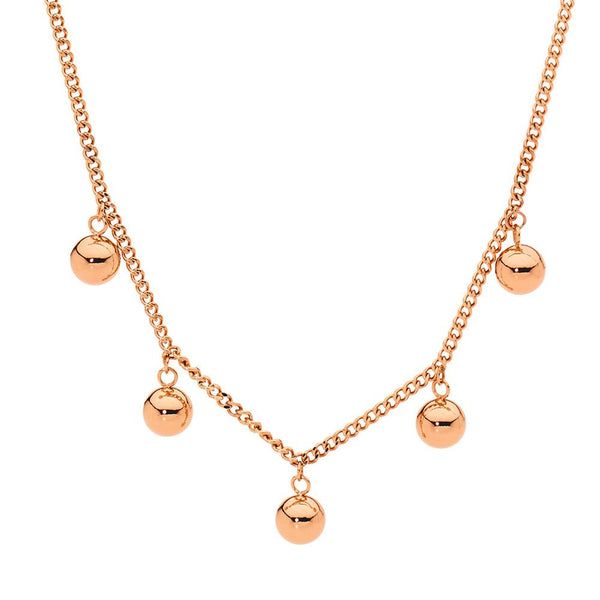 Stainless steel necklace with rose gold plating