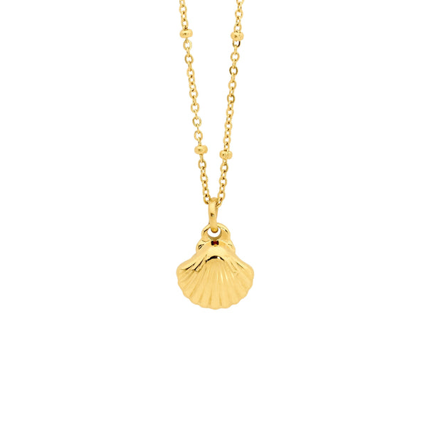 Stainless steel shell pendant on ball feature chain with gold plating