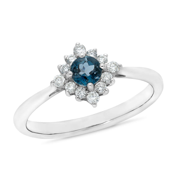 9ct white gold london blue topaz & diamond ring