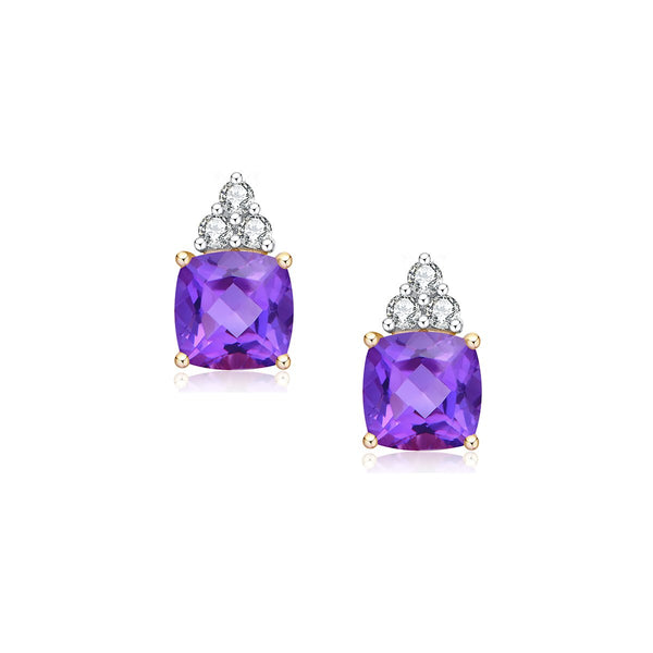 9ct yellow gold amethyst & diamond studs