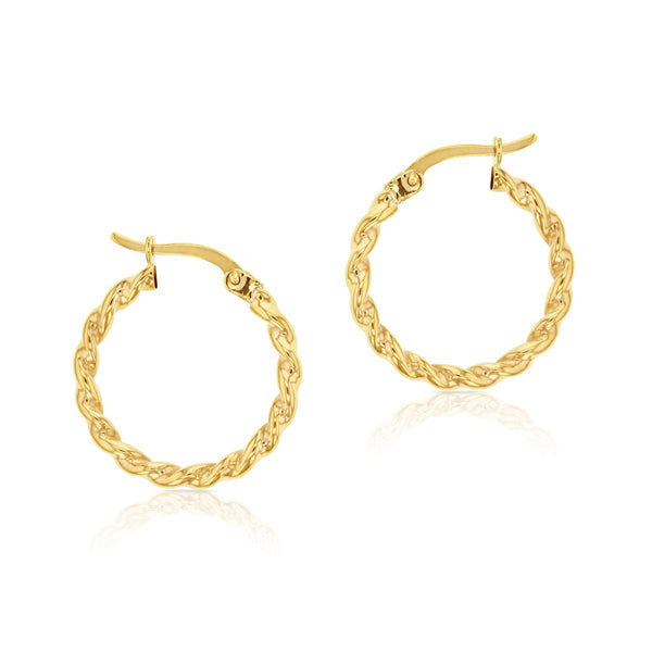 9ct yellow gold twist hoop earrings