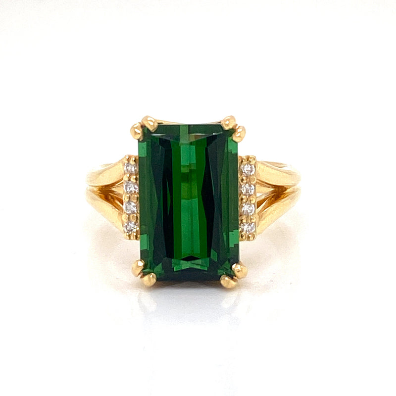 18ct Yellow Gold 7.05ct Tourmaline Handmade Ring