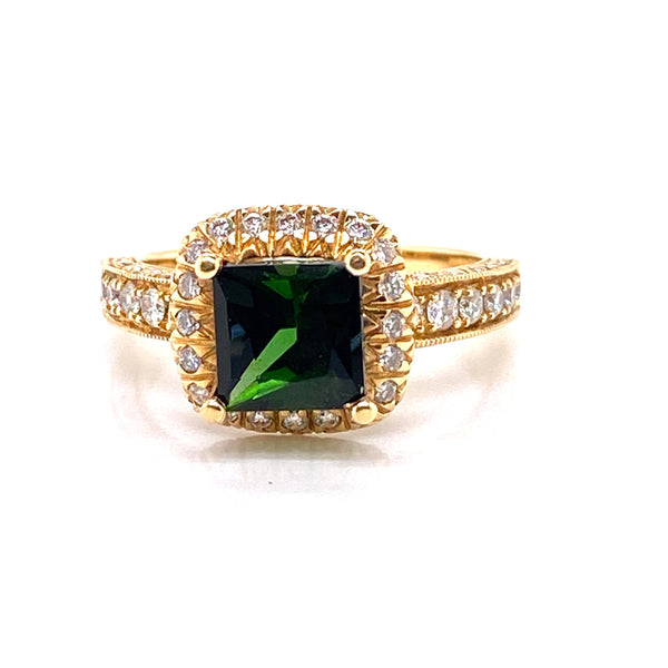 18CT Yellow Gold Tourmaline Ring