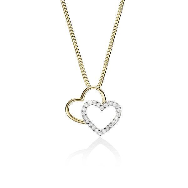 9Ct Yellow Gold Double Heart Diamond Slider