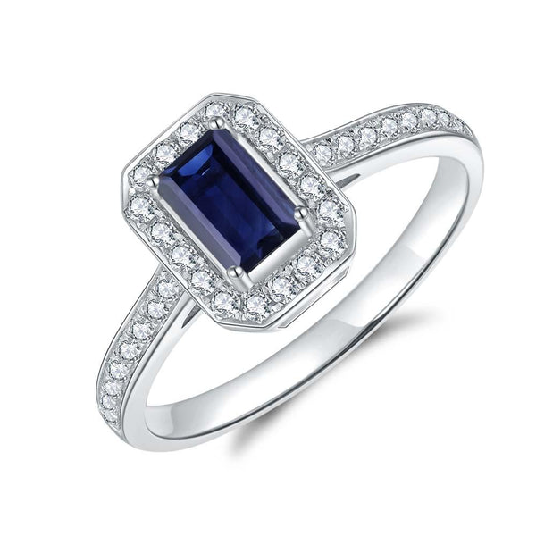Blue Sapphire & Diamond Ring in 9ct White Gold