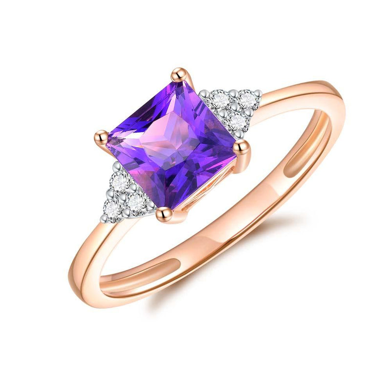 Princess Cut Amethyst & Diamond Dress Ring in 9ct Rose Gold