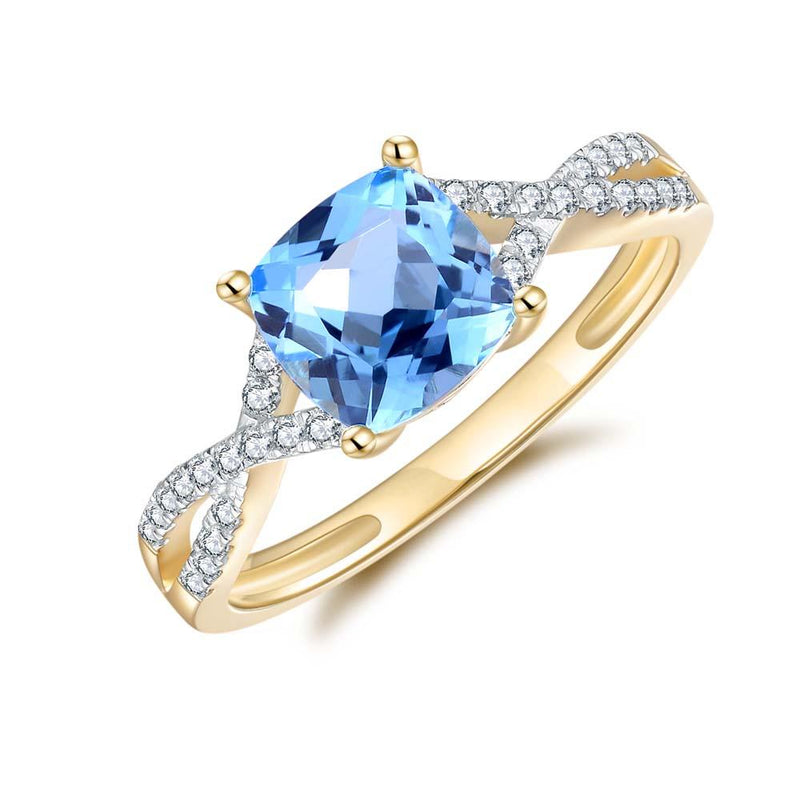 Blue Topaz & Diamond Ring in 9ct Yellow Gold