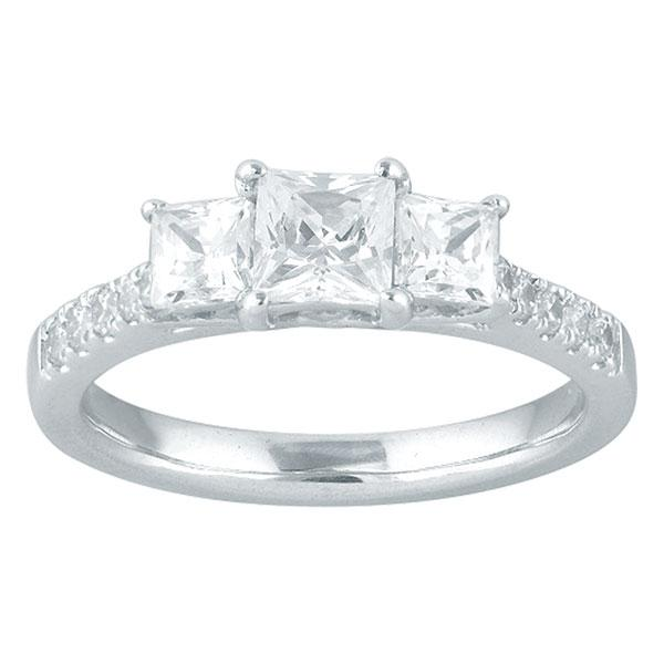 Princess Cut Three Stone Diamond Engagement Ring With Diamond Shoulders
