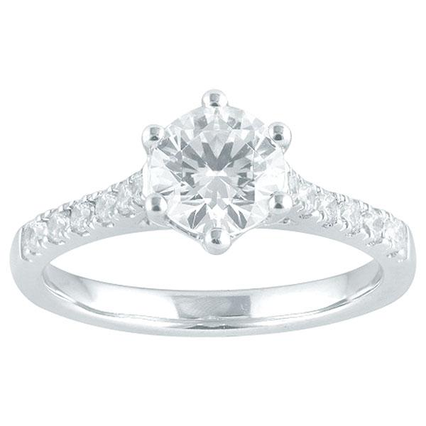 Round Brilliant Cut Diamond Engagement Ring With Diamond Shoulders